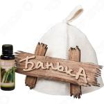 Набор для бани: шапка, табличка и аромат Банные штучки 34214